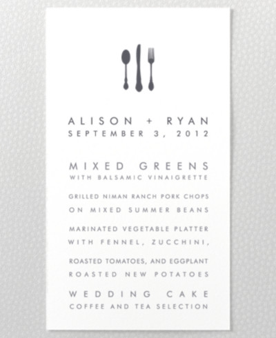 Chicago Skyline Menu Card