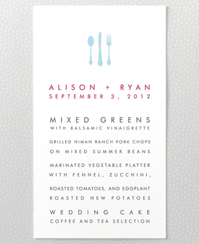 Chicago Skyline Letterpress Menu Card