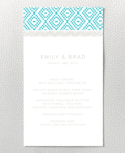 Cross Stitch Letterpress Menu Card