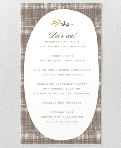 Darling Bud Menu Card