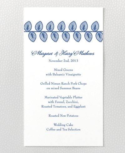 Duchesse Letterpress Menu Card