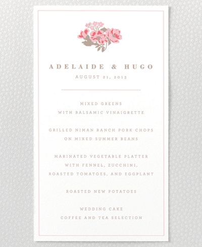 English Rose Letterpress Menu Card