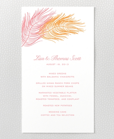 Feathers Letterpress Menu Card
