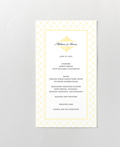 Fillmore Letterpress Menu Card