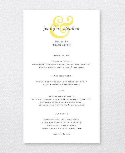Ampersand Letterpress Menu Card