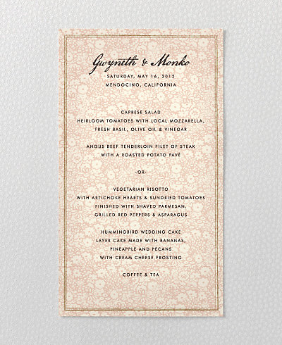 Bluegrass Menu Card