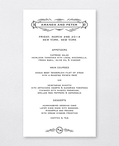 Flourish Letterpress Menu Card