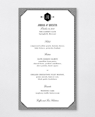Havana Letterpress Menu Card