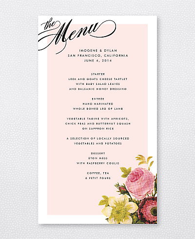 La Vie en Rose Menu Card