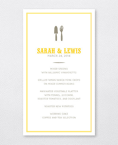 Lemonade Stand Letterpress Menu Card