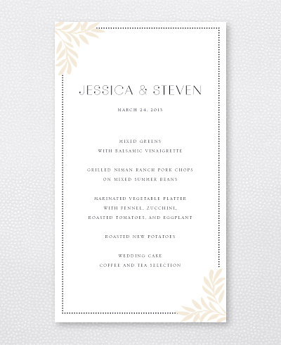 Morris Letterpress Menu Card