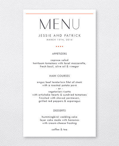 Pop Deco Menu Card