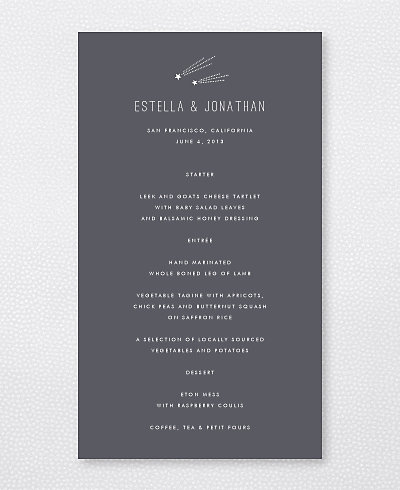 Shooting Star Menu Card