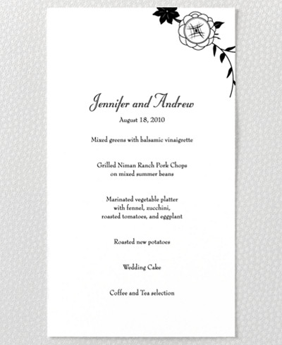 French Deco Letterpress Menu Card
