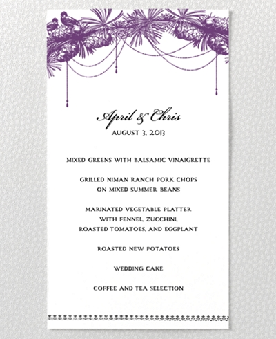 Gothic Rose Letterpress Menu Card