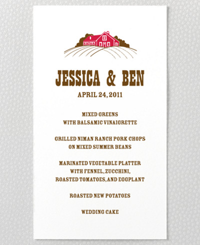 Heartland Menu Card