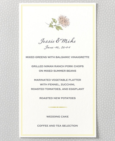 Heirloom Harvest Menu Card