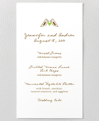 Home Sweet Home Letterpress Menu Card