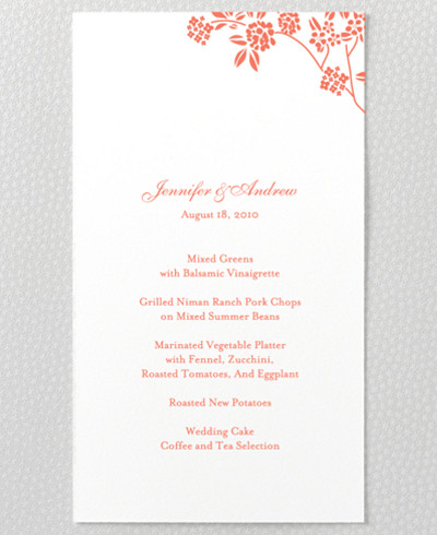 Honeysuckle Letterpress Menu Card