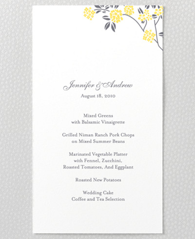 Honeysuckle Menu Card