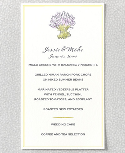 Lavender Harvest Menu Card