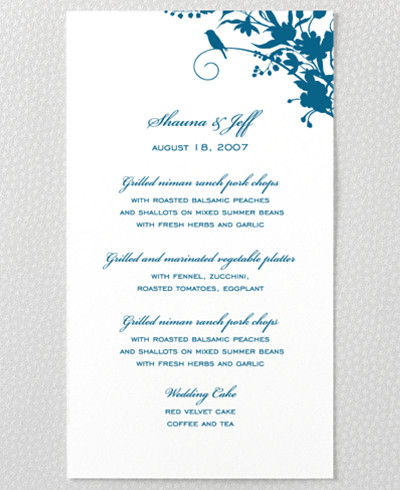 L'Oiseau Menu Card