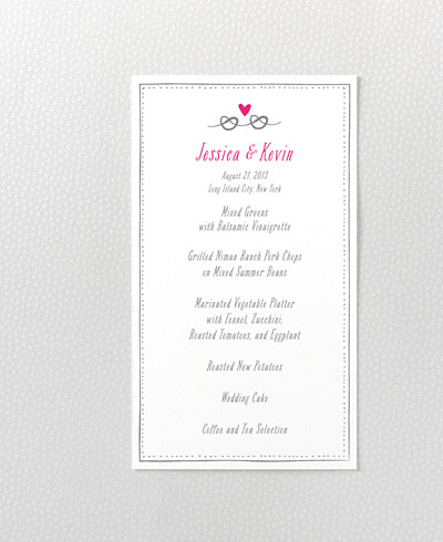 Love Knot Letterpress Menu Card