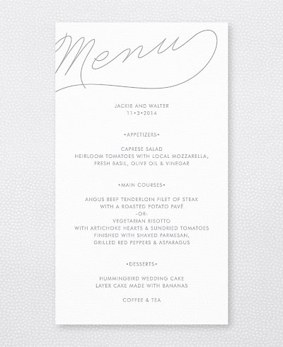 Atlantic Foil/Letterpress Menu Card