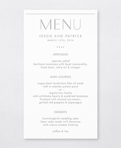 Pop Deco Foil/Letterpress Menu Card