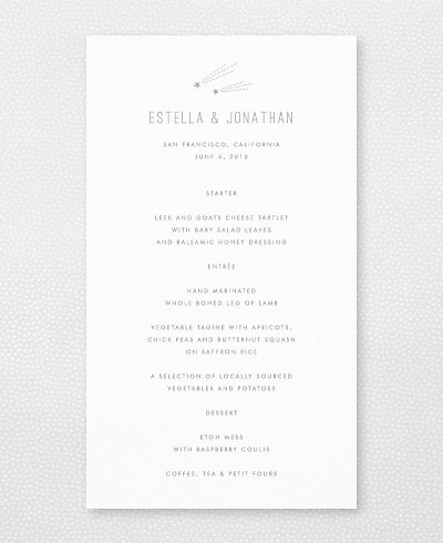 Shooting Star Foil/Letterpress Menu Card