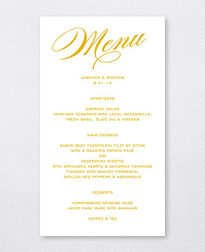 Symphony Foil/Letterpress Menu Card
