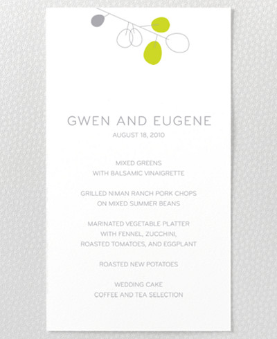 Lunaria Letterpress Menu Card