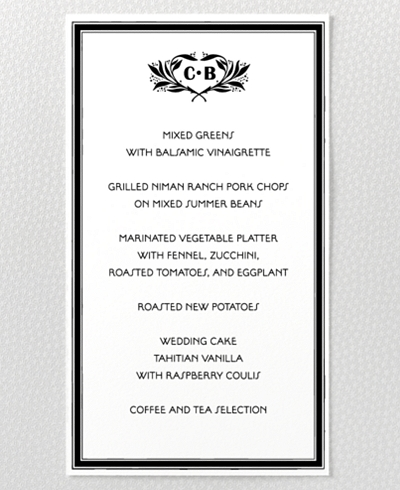Marquee Letterpress Menu Card