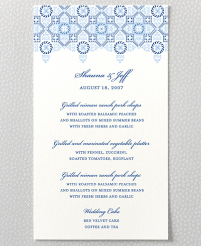 Marrakesh Letterpress Menu Card