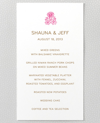Medjool Menu Card