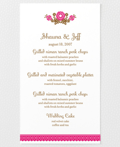 Mi Amor Letterpress Menu Card