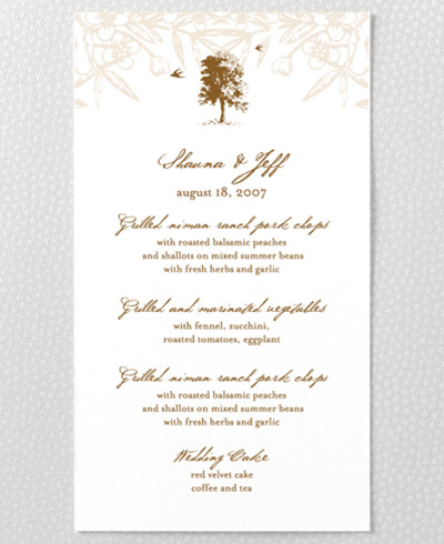 Naturalist Letterpress Menu Card