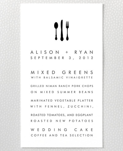 New York Skyline Letterpress Menu Card