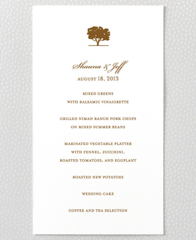 Oak Menu Card