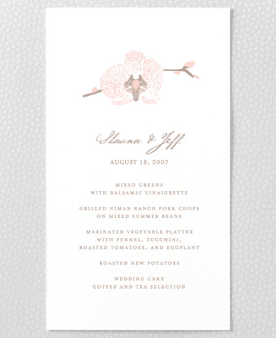 Orchid Letterpress Menu Card
