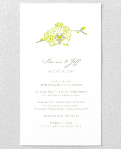Orchid Menu Card