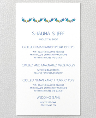 Paisley Menu Card