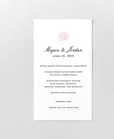 Peonies Letterpress Menu Card