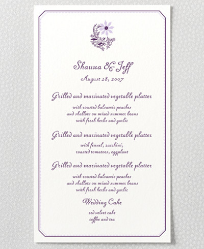 Provence Letterpress Menu Card
