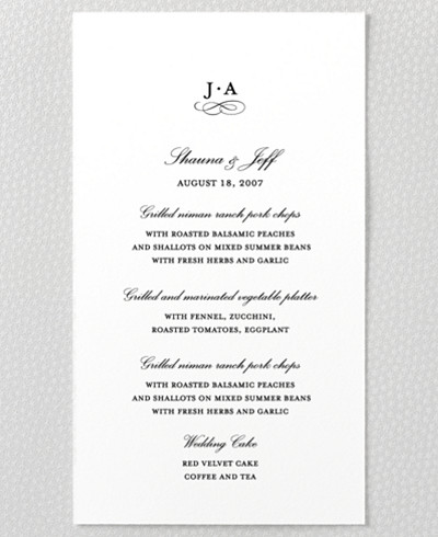 Ritz Letterpress Menu Card