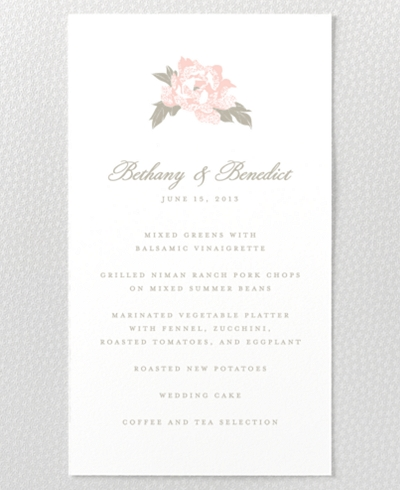 Romantic Garden Letterpress Menu Card