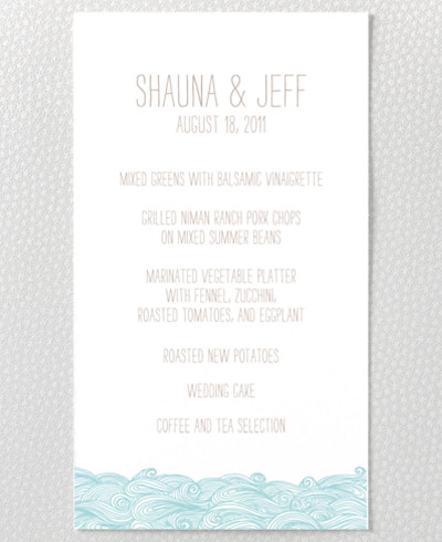 Seagulls Letterpress Menu Card