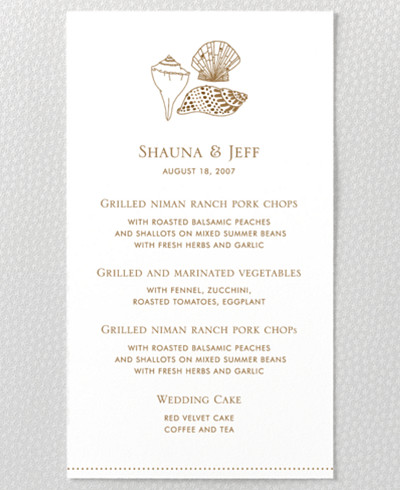 Seashore Letterpress Menu Card