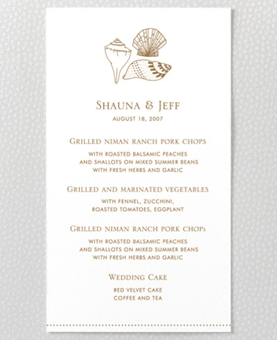 Seashore Menu Card