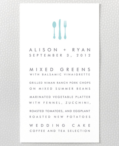 Seattle Skyline Letterpress Menu Card
